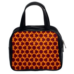 Black And Orange Diamond Pattern Classic Handbags (2 Sides) by Fractalsandkaleidoscopes