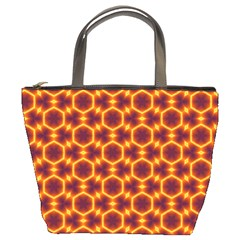 Black And Orange Diamond Pattern Bucket Bags by Fractalsandkaleidoscopes