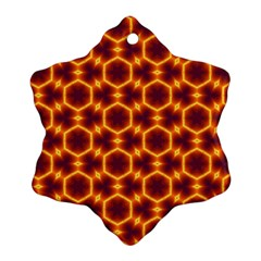 Black And Orange Diamond Pattern Snowflake Ornament (two Sides) by Fractalsandkaleidoscopes