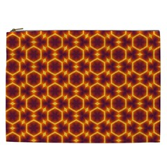 Black And Orange Diamond Pattern Cosmetic Bag (xxl)  by Fractalsandkaleidoscopes