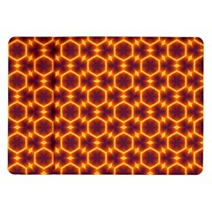 Black And Orange Diamond Pattern Samsung Galaxy Tab 10 1  P7500 Flip Case by Fractalsandkaleidoscopes