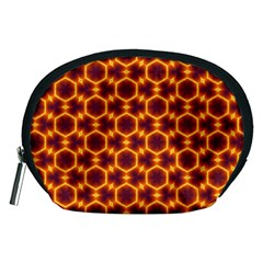 Black And Orange Diamond Pattern Accessory Pouches (medium)  by Fractalsandkaleidoscopes