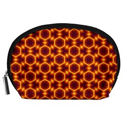 Black And Orange Diamond Pattern Accessory Pouches (large)  by Fractalsandkaleidoscopes