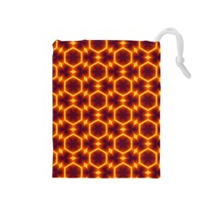 Black And Orange Diamond Pattern Drawstring Pouches (medium)  by Fractalsandkaleidoscopes