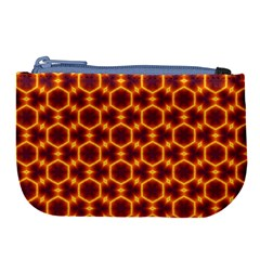 Black And Orange Diamond Pattern Large Coin Purse by Fractalsandkaleidoscopes