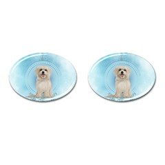 Cute Little Havanese Puppy Cufflinks (oval) by FantasyWorld7
