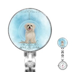 Cute Little Havanese Puppy Stainless Steel Nurses Watch by FantasyWorld7