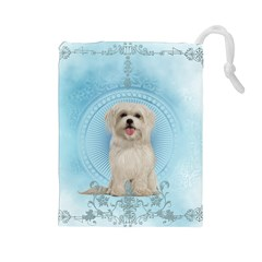 Cute Little Havanese Puppy Drawstring Pouches (large)  by FantasyWorld7