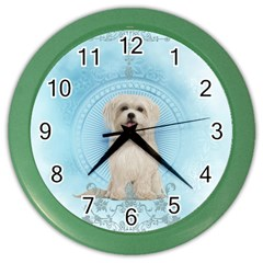 Cute Little Havanese Puppy Color Wall Clocks by FantasyWorld7