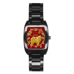 Year Of The Dog   Chinese New Year Stainless Steel Barrel Watch