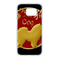 Year Of The Dog   Chinese New Year Samsung Galaxy S7 Edge White Seamless Case by Valentinaart