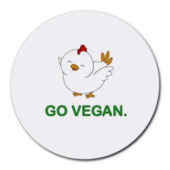 Go Vegan - Cute Chick  Round Mousepads by Valentinaart