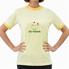Go Vegan   Cute Chick  Women s Fitted Ringer T Shirts