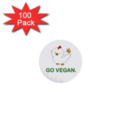 Go Vegan   Cute Chick  1  Mini Buttons (100 Pack)  by Valentinaart