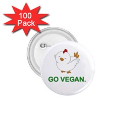 Go Vegan   Cute Chick  1 75  Buttons (100 Pack)  by Valentinaart