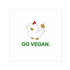 Go Vegan   Cute Chick  Small Satin Scarf (square) by Valentinaart