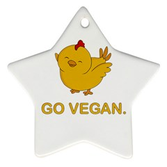 Go Vegan   Cute Chick  Ornament (star) by Valentinaart
