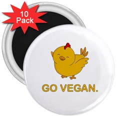 Go Vegan   Cute Chick  3  Magnets (10 Pack)  by Valentinaart