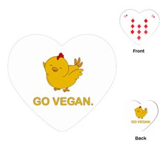 Go Vegan   Cute Chick  Playing Cards (heart)