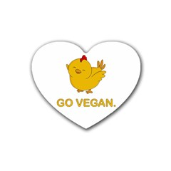 Go Vegan - Cute Chick  Heart Coaster (4 Pack)  by Valentinaart