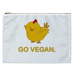 Go Vegan   Cute Chick  Cosmetic Bag (xxl)  by Valentinaart