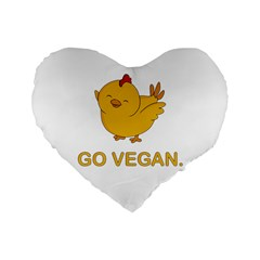 Go Vegan   Cute Chick  Standard 16  Premium Flano Heart Shape Cushions by Valentinaart