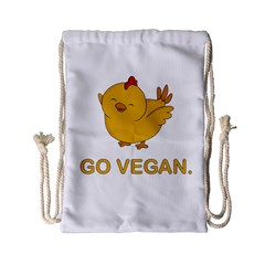 Go Vegan   Cute Chick  Drawstring Bag (small) by Valentinaart