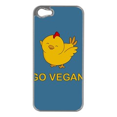 Go Vegan   Cute Chick  Apple Iphone 5 Case (silver) by Valentinaart