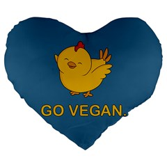 Go Vegan   Cute Chick  Large 19  Premium Heart Shape Cushions by Valentinaart