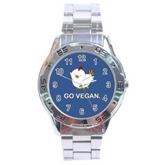 Go Vegan   Cute Chick  Stainless Steel Analogue Watch by Valentinaart