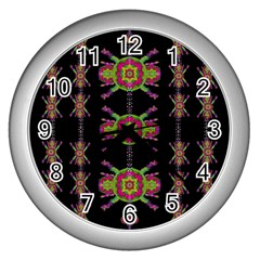 Paradise Flowers In A Decorative Jungle Wall Clocks (silver)  by pepitasart