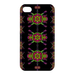 Paradise Flowers In A Decorative Jungle Apple Iphone 4/4s Premium Hardshell Case by pepitasart