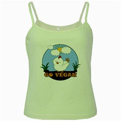 Go Vegan   Cute Chick  Green Spaghetti Tank by Valentinaart