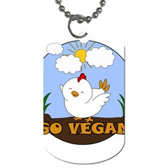 Go Vegan   Cute Chick  Dog Tag (two Sides) by Valentinaart