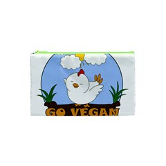Go Vegan   Cute Chick  Cosmetic Bag (xs) by Valentinaart
