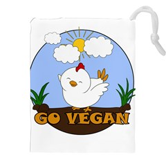 Go Vegan - Cute Chick  Drawstring Pouches (xxl) by Valentinaart