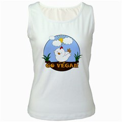 Go Vegan - Cute Chick  Women s White Tank Top by Valentinaart
