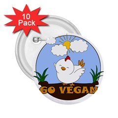 Go Vegan   Cute Chick  2 25  Buttons (10 Pack)  by Valentinaart