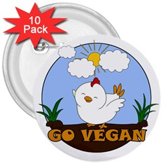 Go Vegan   Cute Chick  3  Buttons (10 Pack)  by Valentinaart