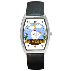 Go Vegan   Cute Chick  Barrel Style Metal Watch by Valentinaart