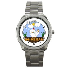 Go Vegan   Cute Chick  Sport Metal Watch