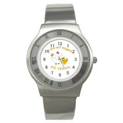 Go Vegan   Cute Chick  Stainless Steel Watch