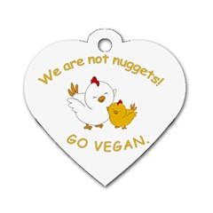 Go Vegan   Cute Chick  Dog Tag Heart (one Side) by Valentinaart