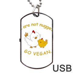 Go Vegan   Cute Chick  Dog Tag Usb Flash (one Side) by Valentinaart