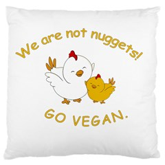 Go Vegan   Cute Chick  Large Cushion Case (two Sides) by Valentinaart