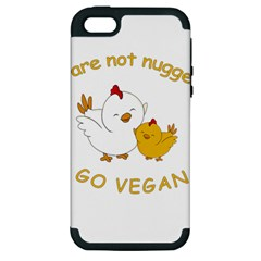 Go Vegan   Cute Chick  Apple Iphone 5 Hardshell Case (pc+silicone) by Valentinaart