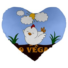 Go Vegan   Cute Chick  Large 19  Premium Flano Heart Shape Cushions by Valentinaart