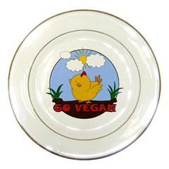 Go Vegan   Cute Chick  Porcelain Plates