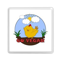 Go Vegan   Cute Chick  Memory Card Reader (square)  by Valentinaart