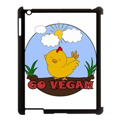 Go Vegan   Cute Chick  Apple Ipad 3/4 Case (black)